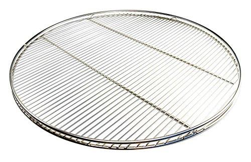 AKTIONA Edelstahl Grillrost 60 cm Grillclub nur 10 mm Stababstand rund mit Reling Schwenkgrill mit 3 Aufhängeösen Grill