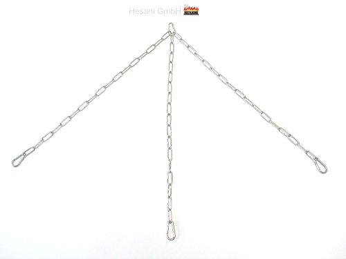 80 cm Edelstahl Kettensatz für Grillrost Aufhängung Aufhängekette Dreierkette mit Karabiner V4a