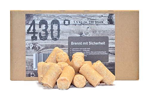 430° Öko Anzünder - 15 kg ca150 Stk- Kaminanzünder  Ofenanzünder  Grillanzünder  Brennholzanzünder  Holzkohle  Briketts  Kaminholz  Premium-Holz Wachs  Top Qualität