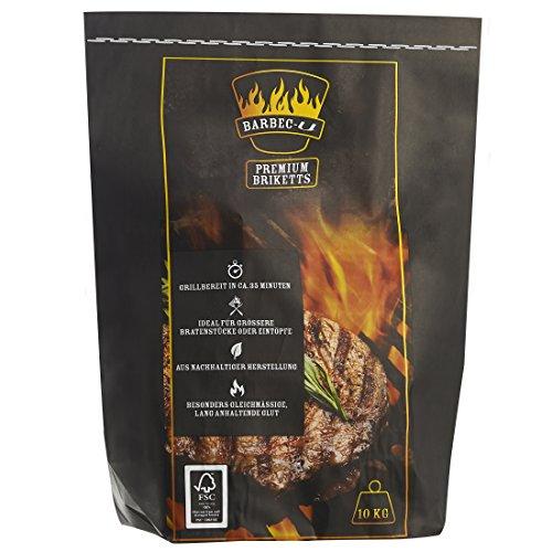 Barbec-U 10 kg Premium BBQ Holzkohlebriketts Grillkohle grillbereit in ca 35 Minuten FSC-zertifiziert hochwertige Kohle zum Grillen