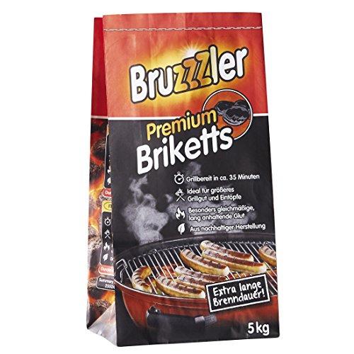Bruzzzler 5 kg Premium BBQ Holzkohlebriketts Grillkohle grillbereit in ca 35 Minuten FSC-zertifiziert hochwertige Kohle zum Grillen