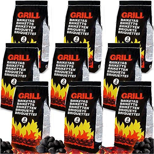 Deuba 27 Kg Grillbriketts  9 x 3kg  Holzkohle Grillkohle Holzkohlebriketts Holzkohlegrill Grill Mengenauswahl