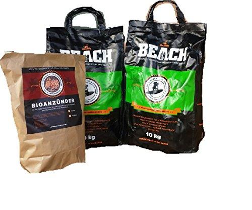 BlackSellig 20 Kg Beach Kokos Grill Briketts Reach registriert  50 Stück Anzünder Perfekte Profiqualität - Versandkostenfrei
