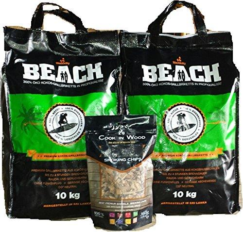 BlackSellig 20 Kg Beach Kokos Grill Briketts reine Kokosnussschalen Grillbriketts REACH registriert  1x360 grSmokerchips aus Eichenfässern- perfekte Profiqualität