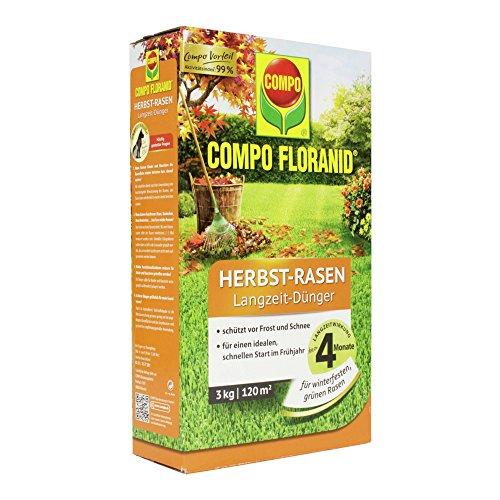 COMPO FLORANID Herbst-Rasen Langzeit-Dünger 4 Monate Langzeitwirkung Feingranulat 3 kg 120 m²