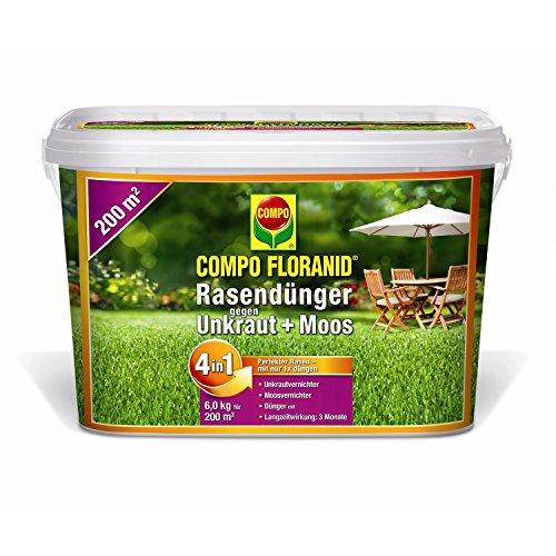 COMPO FLORANID Rasendünger gegen Unkraut  Moos 4in1 6 kg