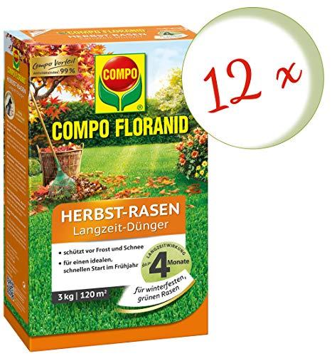 Oleanderhof Sparset 12 x COMPO Floranid Herbst-Rasen Langzeit-Dünger 3 kg  gratis Oleanderhof Flyer