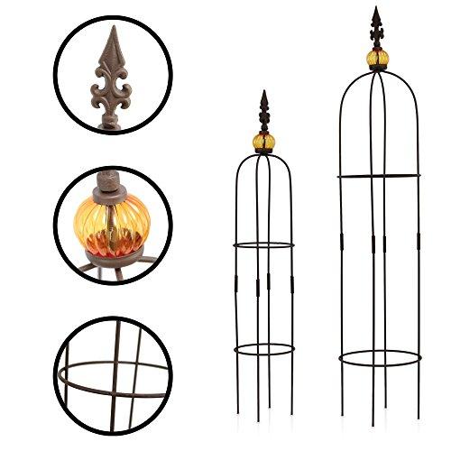 1PLUS Metall Rankhilfe Obelisken Set 2 Stück Höhe 805 und 100 cm in versch Farben - rost-geschützte Garten Rosen Säule Allgold Braun