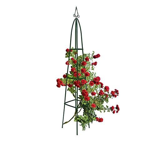 Relaxdays Rankturm Metall spitz 190 cm Rankhilfe für Kletterpflanzen und Rosen freistehende Ranksäule für Garten grün