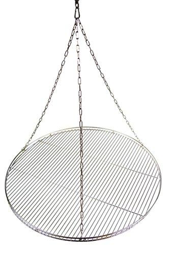 Edelstahl Grillrost 80 cm mit Reling Grillclub nur 10 mm Stababstand   Edelstahl Seilwirbel  Edelstahl Kette  Edelstahl Karabiner Schwenkgrill mit 3 Aufhängeösen Grill