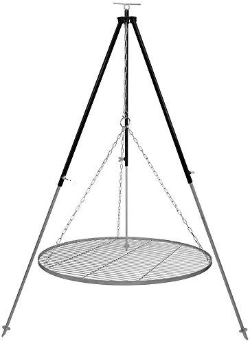 Schwenkgrill Dreibein 18 m Kettenhöhenverstellung mit Grillrost Edelstahl 80 cm