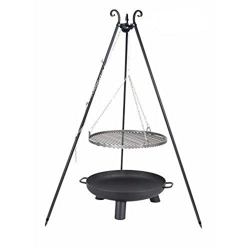 Schwenkgrill Set best aus Dreibein Feuerschale 80 cm und Stahl Grillrost 70 cm