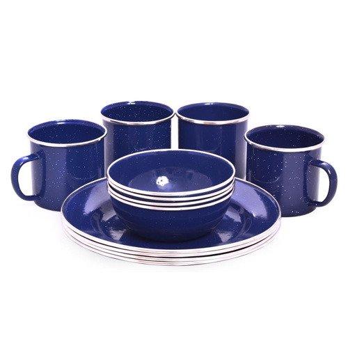 12-teiliges Emaille Dinner Set OCP-ENDS-D 12-tlg Picknick Set - für 4 Personen - Teller - Schälchen - Becher - Besteck - Reise-Set