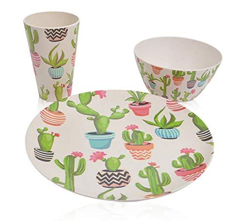 CHICCIE Geschirr-Set aus Bambus - 3 teilig - Teller Trinkbecher Schale Picknickgeschirr