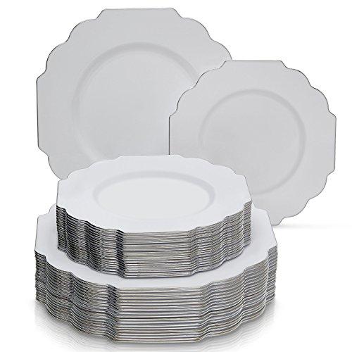 EINWEGGESCHIRR PARTY-SET 40 TEILE  20 Dinner-Teller  20 SalatDessert Teller  robustes Kunststoffgeschirr  eleganter China-Look  für gehobene Hochzeiten und Speisen Baroque-Weiß