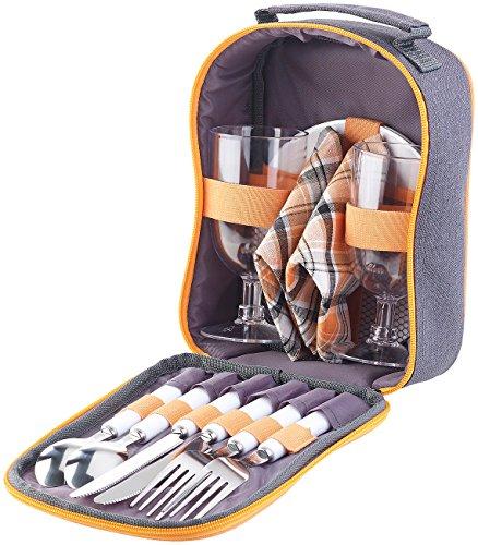PEARL Picknicktasche Picknick-Set für 2 Personen Gläser Servietten Teller Besteck Picknick-Geschirr-Set