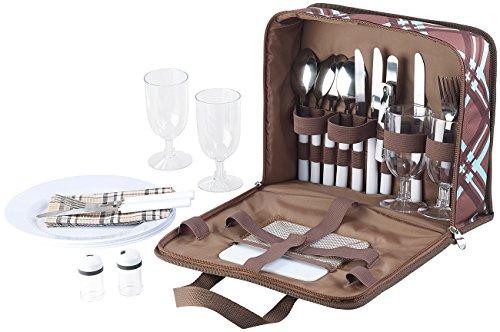 Xcase Plastikgeschirr 30-teiliges Picknick-Set für 4 Personen inkl Tasche Teller Gläser Camping Geschirrset