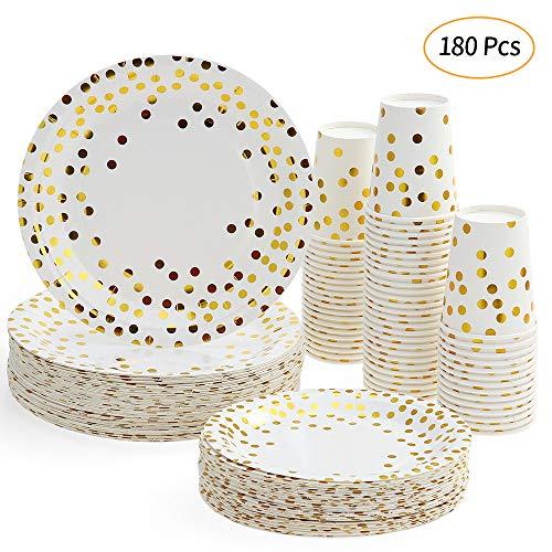 esonmus Partygeschirr Kindergeburtstag Set 60 Stück Pappbecher x 60 Stück 7In Dessertteller x 60 Stück 9In Pappteller Gold Tupfen Papier Einwegbecher Geschirr