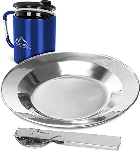 normani Camping Geschirrset Besteck  Teller  Doppelwandiger Thermobecher mit Trinkdeckel  Dosen- und Flaschenöffner - Rostfreier Edelstahl Farbe Blau