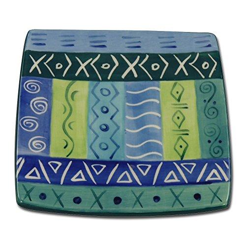 Kapula Eckiger Teller Blue and Green 13 cm