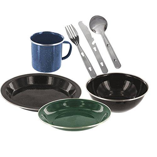 Essgeschirr aus Emaille für Camping mit Messer Gabel Löffel Teller Suppenteller Tasse und Schale grün