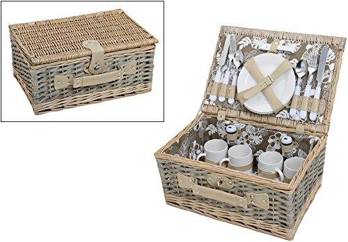 Picknickkorb Grün-Weiß mit Blumenmuster  Picknickset für 4 Personen mit Teller Besteck und Tassen  24 Teilig mit Geschirr Korb aus Weidengeflecht