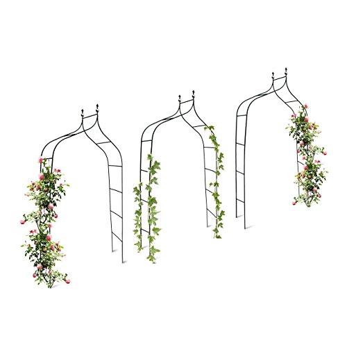 3er Set Rankbogen Metall geschwungen 240 cm royaler Rosenbogen mit Spitze Rankhilfe und Gartendeko für Draußen grün