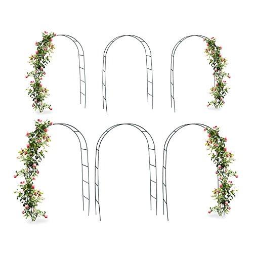 6x Torbogen Rankhilfe Kletterpflanzen Rosen Rosenbogen Metall witterungsbeständig HBT 240 x 140 x 38 cm dunkelgrün