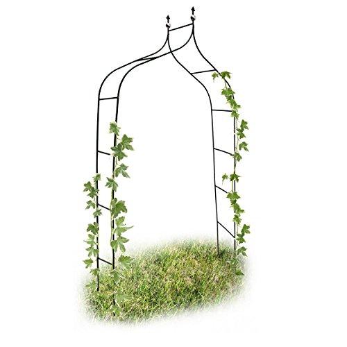Relaxdays Rankbogen Metall geschwungen 240 cm royaler Rosenbogen mit Spitze Rankhilfe und Gartendeko f Draußen grün