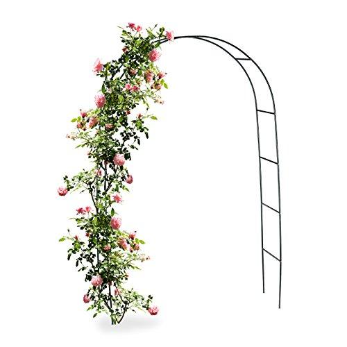 Relaxdays Torbogen Rankhilfe für Kletterpflanzen und Rosen 240 cm Rosenbogen aus Metall witterungsbeständig grün