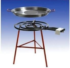 Paella Grillset Almeria mit 3-flammigem 60cm Gasbrenner 245 KW 70cm Pfanne verstärktes Gestell incl Schlauch und Druckminderer