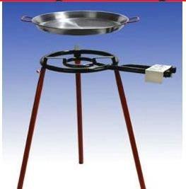 Sehr grosses Paella Grillset mit 2-flammigem 50cm Gasbrenner 17 KW 55cm und 70cm Pfanne normale Füsse incl Schlauch und Druckminderer