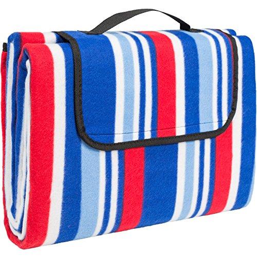 TecTake Picknickdecke Campingdecke Fleece 200 x 150cm wasserabweisend mit Tragegriff - diverse Farben und Mengen - Blau Rot Weiß  Nr 401599