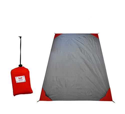 polaar XL Outdoor- Picknickdecke und Stranddecke wasserdicht Ultraleicht 200 cm x 150 cm in graurot Kleines Packmaß - Ideal für Reisen und Camping
