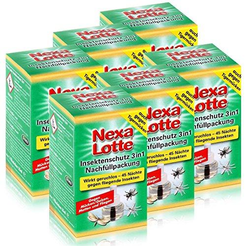 6 x Nexa Lotte Nachfüllpackung für Insektenschutz 3 in 1 Mückenabwehr