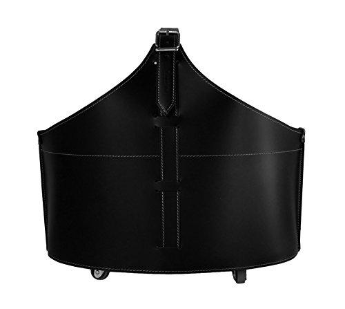 FABIA Kaminholzkorb aus Leder Farbe Schwarz Holzkorb Feuerholzkorb Brennholzkorb Exlusivdesign aus Italien by LIMAC DESIGN