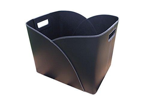 Holzkorb Umschlag Lederkorb schwarz aus recyceltem Leder