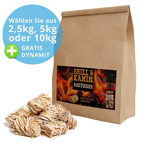 10 kg Kamin-Anzünder und Grill-Anzünder Ofen-anzünder Anzündwolle Anzündhilfe aus Bio Holz-Wolle und Wachs - schnell und umweltfreundlich