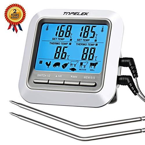 TOPELEK Grillthermometer Fleischthermometer 2 Sonden Haushaltsthermometer Temperatur Voreinstellung Küchenwecker Sofortiges Auslesen Magnetisches Montagedesign für Küche Grill