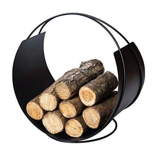 VASNER Situro S1 Holzkorb 58 x 58 x 38 cm schwarz Metall Kaminholzkorb rund modern Brennholz Aufbewahrung Brennholzkorb Holz Korb Feuerholzkorb