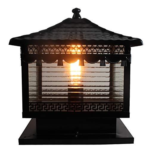 Äußere Säulenlaterne im Freien schwarze Farbe Körperende Klare Streifentransparente Glasaußengarten-Licht-Zaun-Tür im Freien LED wasserdichte Spalten-Kopf-Licht-Wand-Tor-Licht Größe  L