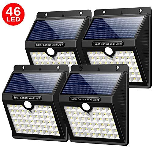 Solarleuchten Außen Yacikos 46 LED Solarlampen für Außen mit Bewegungsmelder Solar Beleuchtung Wasserdichte Wandleuchte Solarlicht Aussen 1800mAh mit 3 Modi für Garten Wände 4 Stück