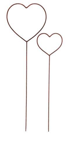 Gartenzaubereien Herz 2er Set zum Stecken Rankhilfe Hochzeit Metall Deko Rost Liebe