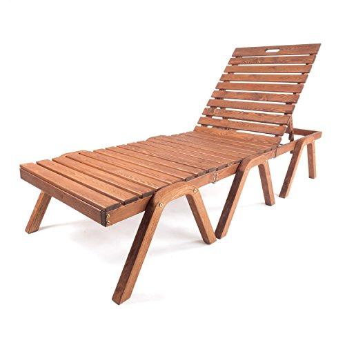 Ampel 24 Pool-Liege Nizza Liegestuhl mit klappbarer Rückenlehne 3-Geteilte Sonnenliege aus Holz Gartenmöbel wetterfest
