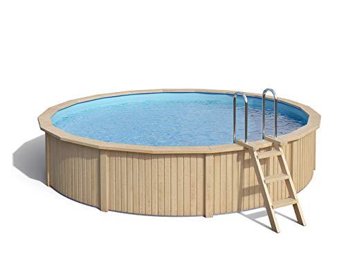 ISIDOR Holzpool Swimmingpool Caspian mit Stahlwand inkl Filterpumpe 460x90cm Ø 460 mit HolzEdelstahlleiter Ø 460 mit Sicherheitsleiter