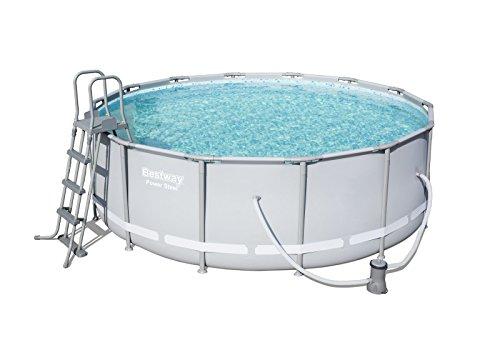 Bestway Power Steel Frame Pool Komplettset rund grau 427 x 122 cm