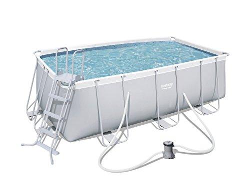 Bestway Power Steel Frame Pool Set mit Kartuschenfilterpumpe  viereckig grau 412 x 201 x 122 cm