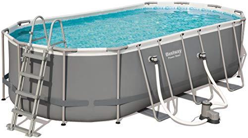 Bestway Power Steel Frame Pool Set oval 549x274x122 cm Stahlrahmenpool-Set mit Filterpumpe  Zubehör grau