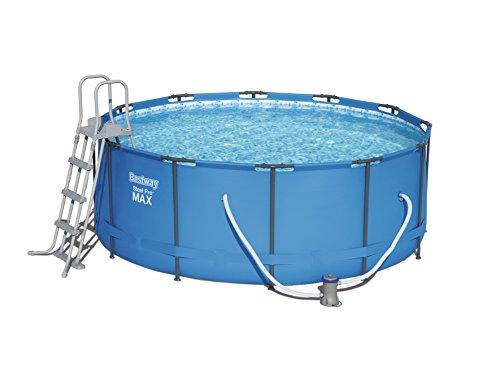 Bestway Steel Pro Frame Pool Komplettset rund mit Kartuschenfilterpumpe Leiter Boden- und Abdeckplane 366x122 cm blau
