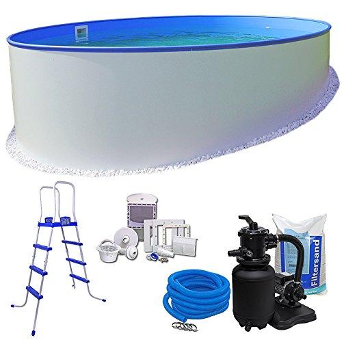 Pool-Set KOMFORT Ø 350 x 120 m rund - 06mm Stahlmantel  06mm Innenhülle blau mit Einhängebiese - inkl Einstiegsleiter Schlauch-Set hochwertiger 36 m³h Sandfilter 25 kg Sand Skimmer-SET etc